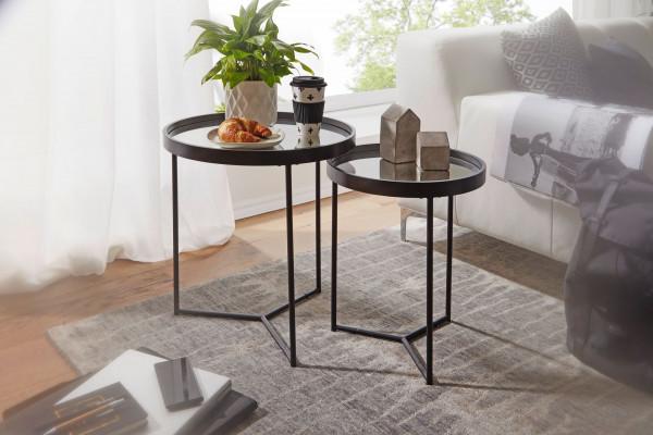 WOHNLING Design Beistelltisch Rund Ø 50/36 cm - 2 teilig Schwarz mit Spiegel Glasplatte