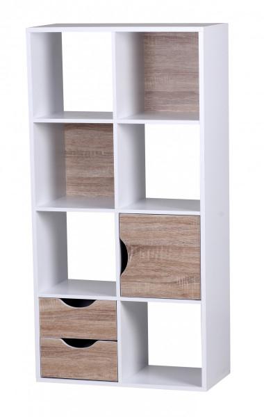 Wohnling Bücherregal 60 x 120 x 29 cm Weiß Sonoma Eiche