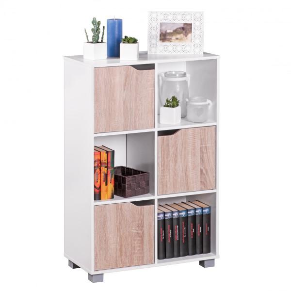 Wohnling Design Bücherregal SAMO Modern Holz Weiß mit Türen Sonoma Eiche Standregal freistehend