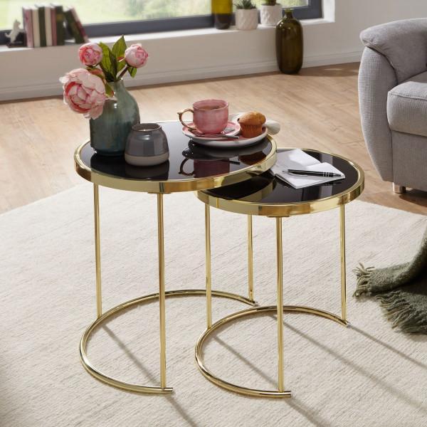 WOHNLING Design 2 Satztisch CORA Schwarz/Gold Beistelltisch Metall/Glas