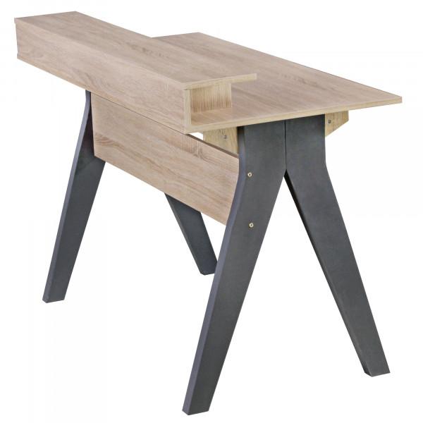 WOHNLING Design Schreibtisch mit Schubladen SAMO Bürotisch Sonoma / Weiß 120 cm