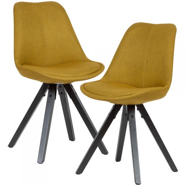 WOHNLING 2er Set Esszimmerstuhl Curry mit schwarzen Beinen Stuhl Skandinavisch