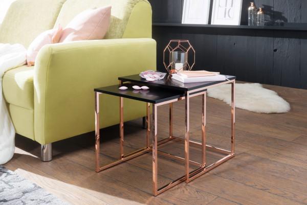 WOHNLING Satztisch CALA Schwarz / Kupfer Beistelltisch MDF / Metall | Couchtisch Set aus 2 Tischen