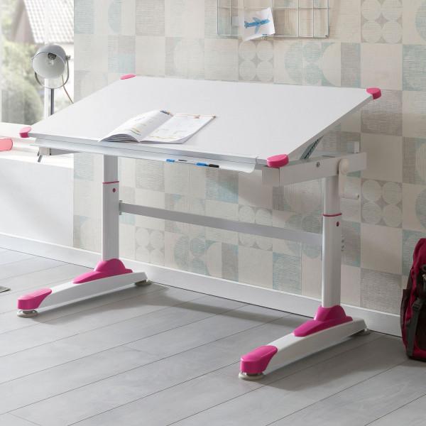 WOHNLING Design Kinderschreibtisch Felix 119 x 67 cm Pink/Weiß Maltisch