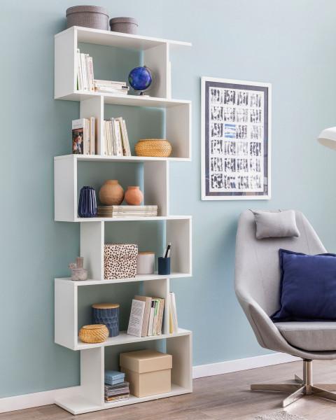 WOHNLING Bücherregal 70 x 23,5 x 190,5 cm weiß | Standregal 6 Fächer | Kleine Design Kommode