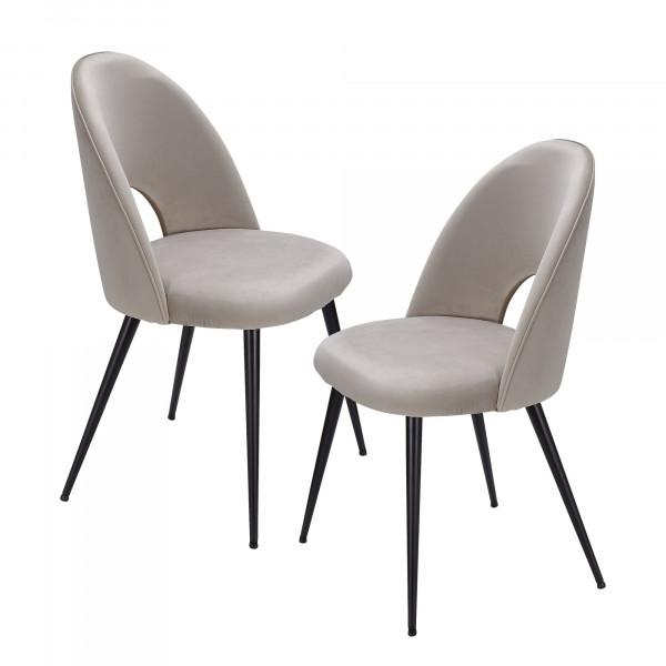 WOHNLING Esszimmerstuhl 2er Set Samt Beige Küchenstuhl mit Schwarzen Beinen