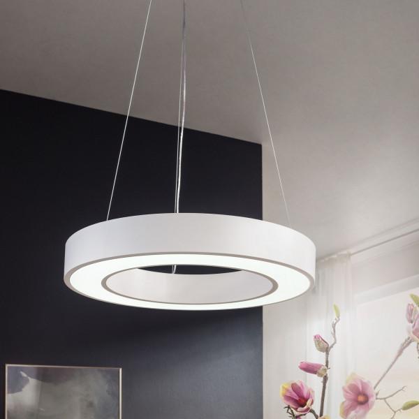 WOHNLING LED-Deckenleuchte CIRCLE rund matt weiß Metall EEK A+ Büro-Deckenlampe 48 Watt Ø 60 cm