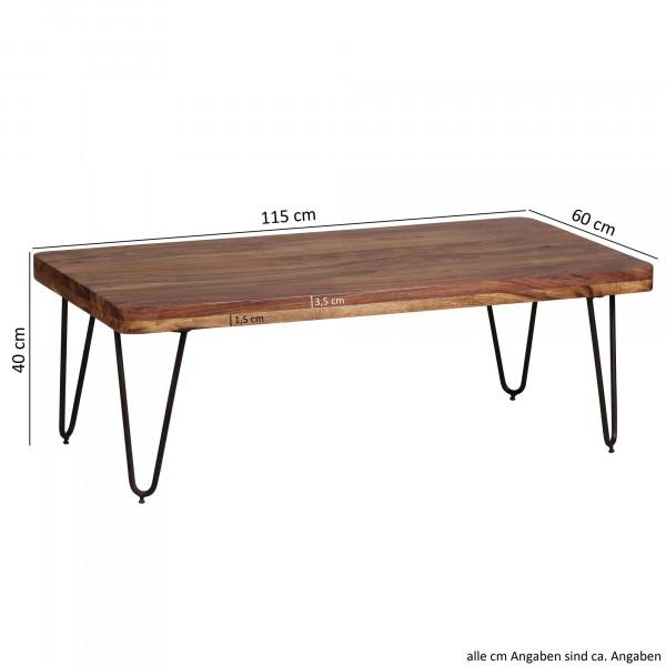 WOHNLING Couchtisch BAGLI Massiv-Holz Sheesham 115 cm breit
