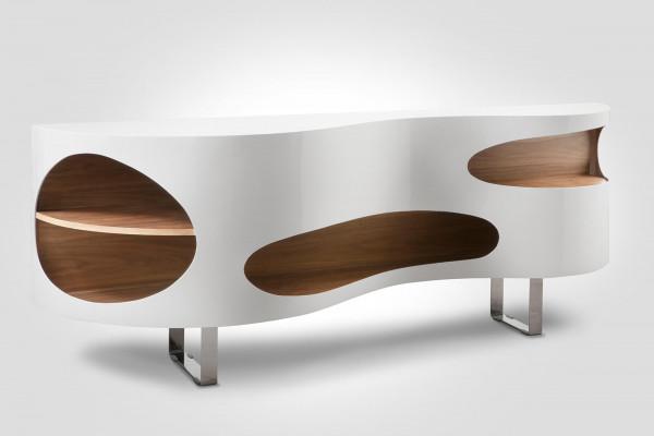 Sideboard 200x50x75 cm weiß/Walnuss