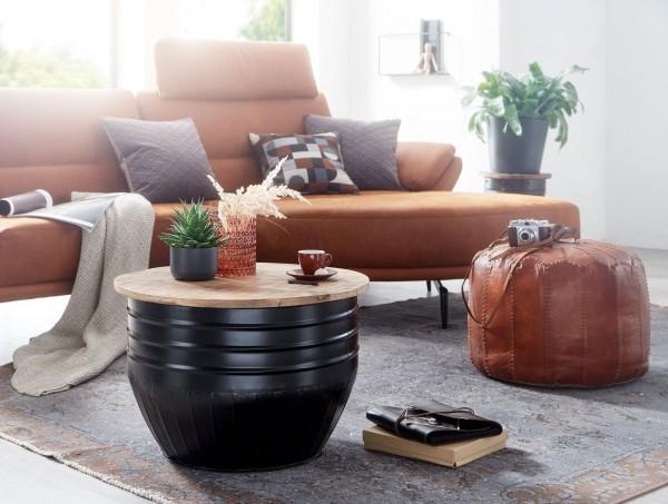 Wohnling Couchtisch Mango Holz Metall 60x41x60 cm Industrial Style Rund Sofatisch