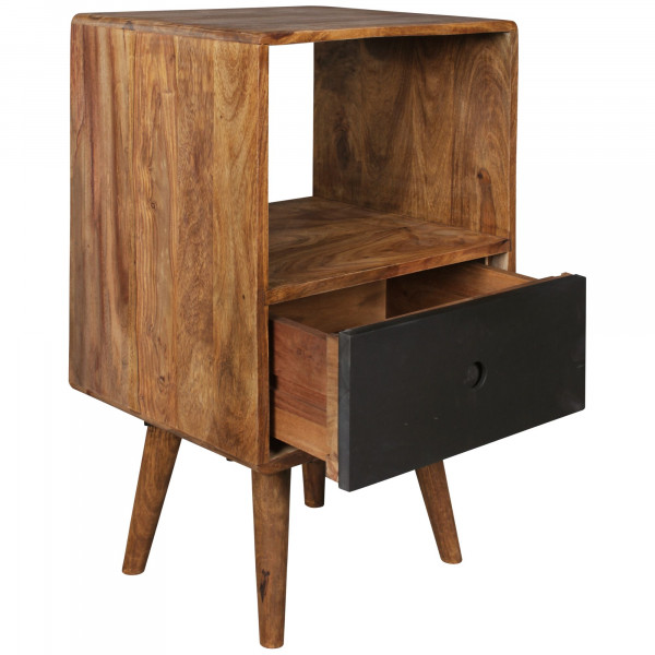 WOHNLING Retro Nachtkonsole REPA / Sheesham-Holz Nachttisch mit Schublade dunkelbraun / schwarz