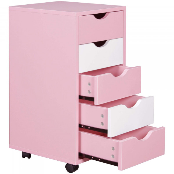 WOHNLING Rollcontainer MINA 33 x 68 x 38 cm MDF-Holz 5 Schubladen rosa / weiß Kinder
