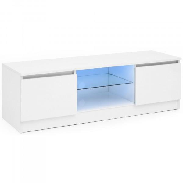 WOHNLING Lowboard mit LED Weiß Hochglanz 120 cm HiFi Regal   Design Fernsehschrank Kommode