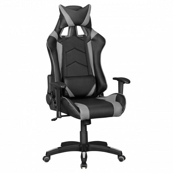AMSTYLE® SCORE - Gaming Chair aus Kunstleder in Schwarz/Grau | Schreibtisch-Stuhl in Leder-Optik
