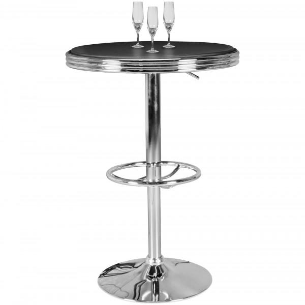 WOHNLING American Diner Bartisch ELVIS rund 60 cm Aluminium Kunstlederbezug