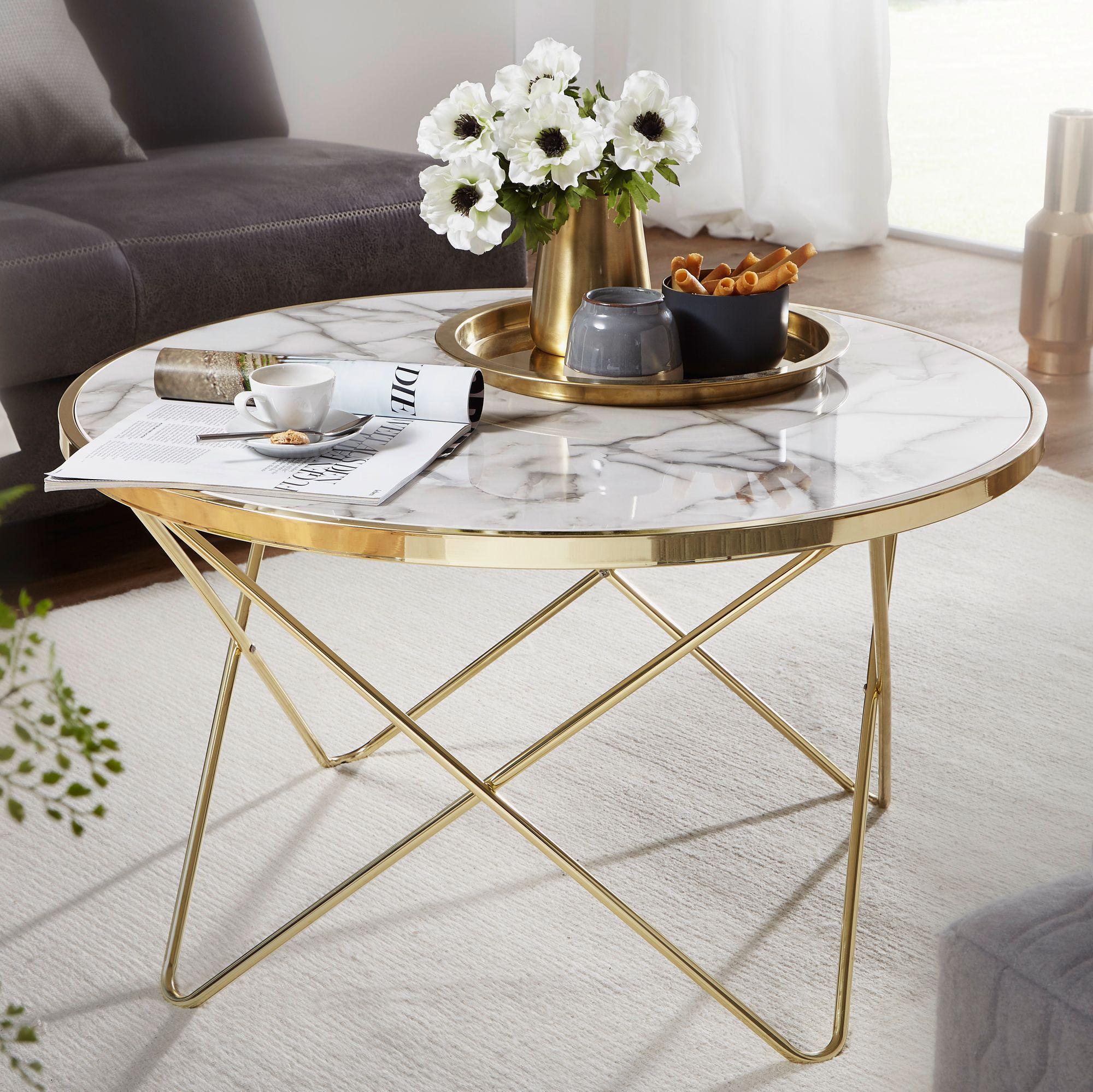 Wohnling Design Couchtisch Marmor Optik Weiss Rund O 85 Cm Gold Metall Gestell