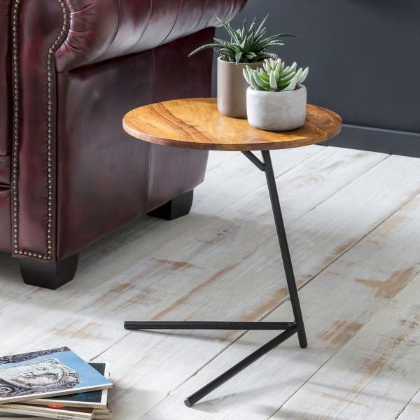 WOHNLING Beistelltisch 40x46x40cm Sheesham Holz Metall Couchtisch | Industrial Style
