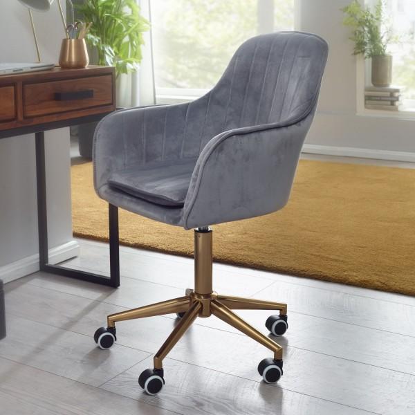 AMSTYLE Schreibtischstuhl Samt Grau Design Drehstuhl mit Lehne