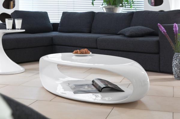 SalesFever Couchtisch 120x60x30 cm weiß Fiberglas