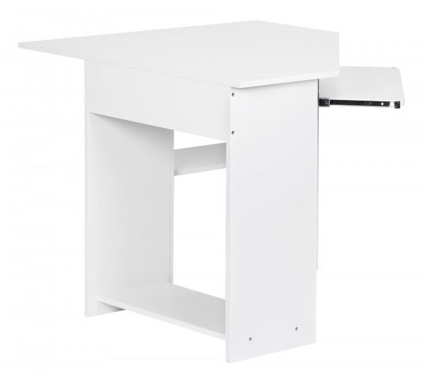 Wohnling Eckschreibtisch Computertisch Roman Weiß mit Tastaturauszug