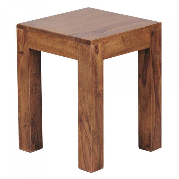 WOHNLING Beistelltisch MUMBAI Massiv-Holz Sheesham 35 x 35 cm Wohnzimmer-Tisch