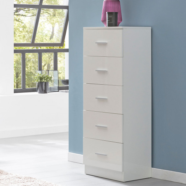 WOHNLING Design Highboard Raya Weiß Hochglanz 41x108x30 cm Anrichte Holz Modern