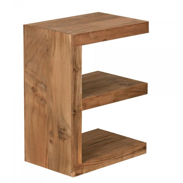 WOHNLING Beistelltisch MUMBAI Massivholz Akazie E Cube 60 cm hoch