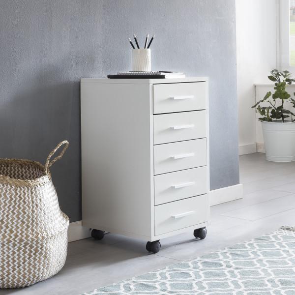 WOHNLING Rollcontainer LISA Weiß Schubladenschrank Schreibtisch