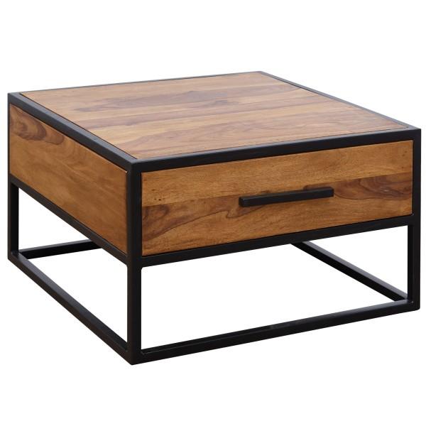 WOHNLING Couchtisch Massivholz / Metall Sofatisch 65x38x65cm | Design Wohnzimmertisch