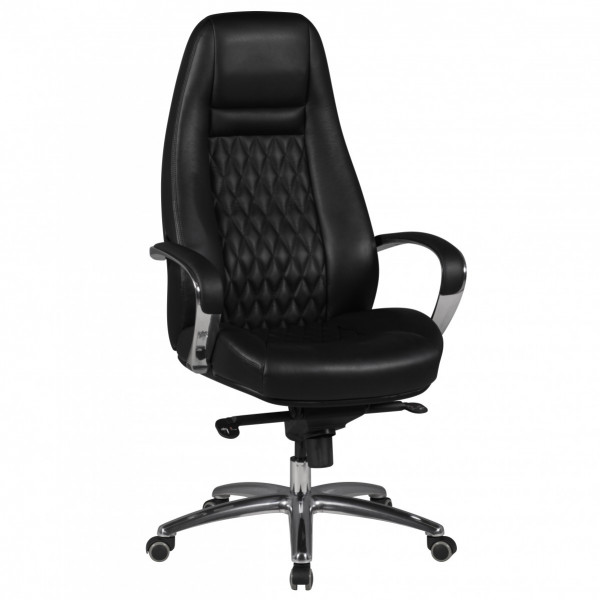 AMSTYLE Bürostuhl AUSTIN Echt-Leder Schwarz Schreibtischstuhl 120KG Chefsessel hohe Rückenlehne