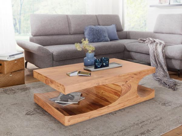 WOHNLING Couchtisch BOHA Massiv-Holz Akazie 118 cm breit