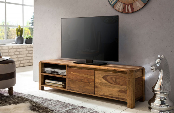 WOHNLING Lowboard BOHA Massivholz Sheesham Kommode 140 cm TV-Board