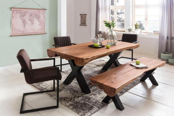 WOHNLING Esstisch Akazie Landhaus-Stil Voll-Holz