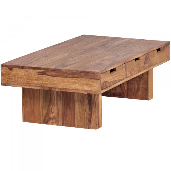 WOHNLING Couchtisch MUMBAI Massivholz Sheesham Design Wohnzimmer-Tisch 110 x 60 cm