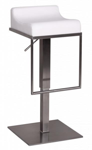 WOHNLING Barhocker Weiß Edelstahl höhenverstellbare Sitzhöhe 65 - 89 cm