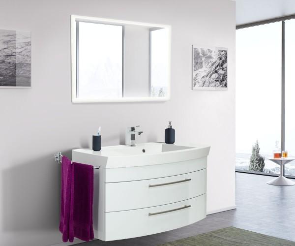 Posseik Badmöbel-Set Luna 100 cm mit Touch LED Spiegel weiß hochglanz