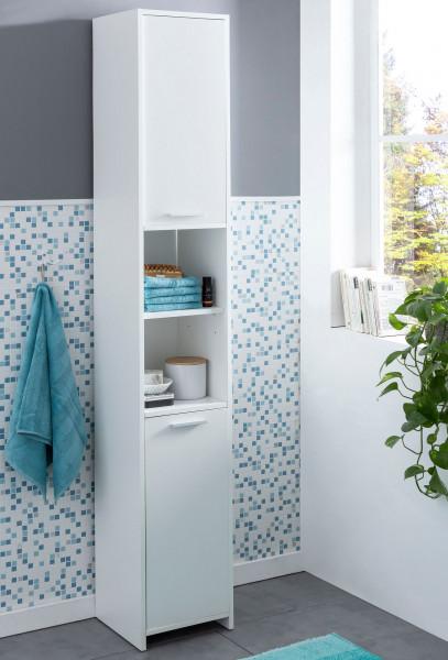 WOHNLING Badschrank Bubble Modern 30,5 x 190 x 30 cm Weiß   Badezimmerschrank mit 2 Türen
