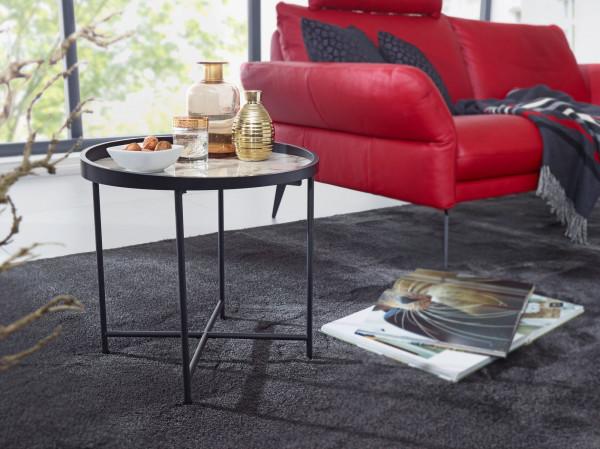 WOHNLING Design Beistelltisch Rund 46 cm Marmor Optik Weiß | Wohnzimmertisch Metallbeine Schwarz