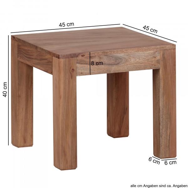 WOHNLING Couchtisch Massiv-Holz Akazie 45 cm breit