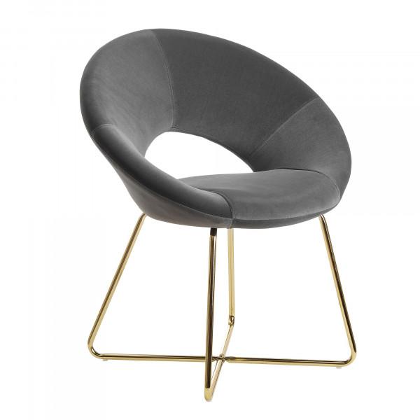 WOHNLING Esszimmerstuhl Samt Dunkelgrau Küchenstuhl mit goldenen Beinen