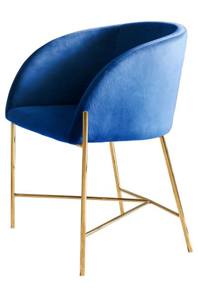 Stuhl blau Samt mit Armlehnen