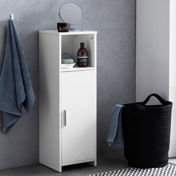 WOHNLING Badschrank Bubble 30 x 95,5 x 30 cm weiß mit Tür und Ablagefach | Kleiner Bad-Schrank