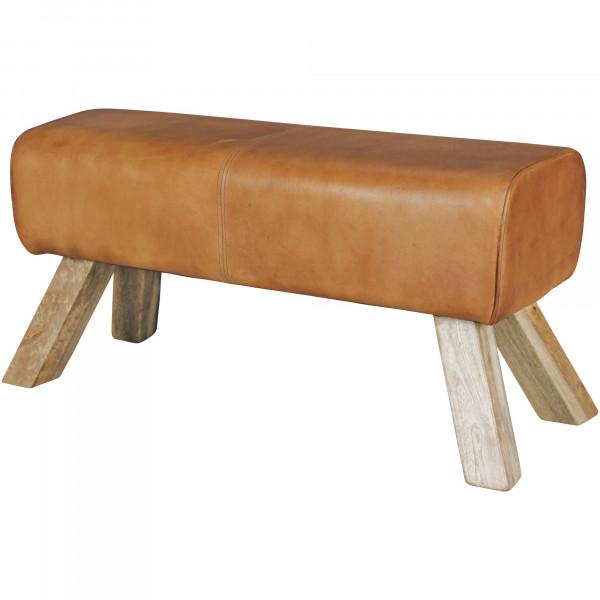 WOHNLING Design Sitzhocker Holz Leder Modern Springbock