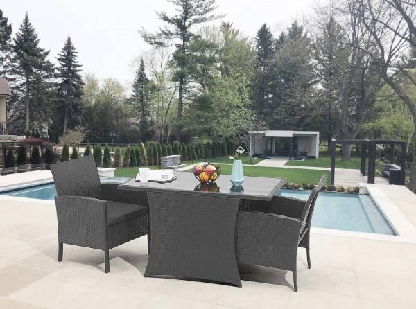 MÖBILIA Gartenmöbel-Set CUBA 3-tlg. Gartengarnitur 2 Sessel, 2 Sitzkissen, 1 Tisch schwarz