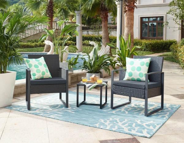 MÖBILIA Gartenmöbel-Set DESNA 5-tlg. Gartengarnitur 2 Stühle, 2 Sitzkissen grau, 1 Beistelltisch