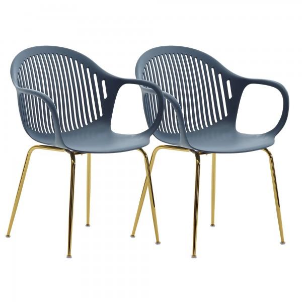 WOHNLING Design Esszimmerstuhl 2er Set Blau Kunststoff mit goldenen Metallbeinen Stuhlset