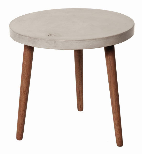 Tom Tailor Couchtisch rund 60 x 60 cm Beton grau, Beine nussbaumfarbig