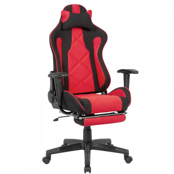AMSTYLE Gaming-Schreibtischstuhl Bezug Stoff Schwarz/Rot Drehstuhl bis 120 kg