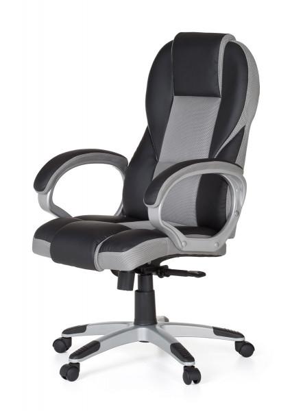 Amstyle Bürostuhl RACE Grau Gaming Chefsessel mit Armlehne Racer Sportsitz Drehstuhl Kopfstütze