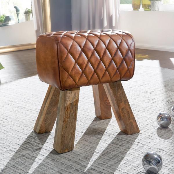 WOHNLING Sitzhocker Echtleder / Massivholz 40x48x27 cm